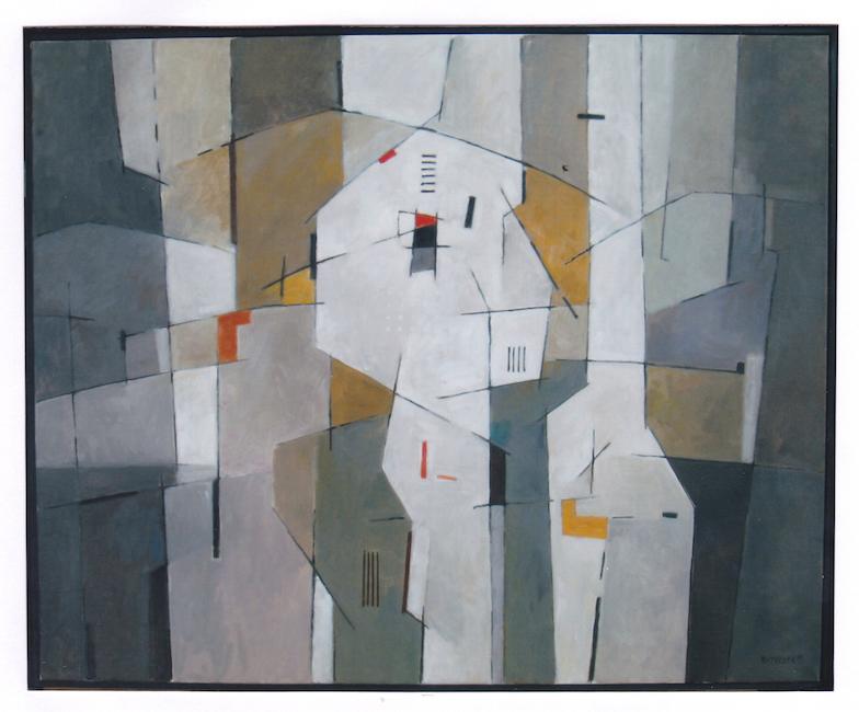 Verticales blancos con ocres - 2010 - óleo sobre lienzo - 81 x 100 cm.