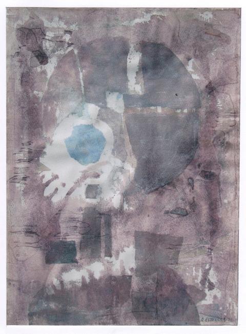 Del génesis - 1973 - acuarela y plata - 65 x 48 cm. (colección MªCarmen Pesudo - Vila- Real)