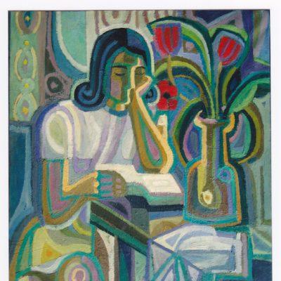 Mujer leyendo - 1967 - óleo sobre lienzo - 80 x 70 cm.