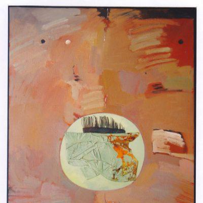 Sobre la tierra - 1981 - óleo sobre lienzo / collage - 116 x 89 cm.