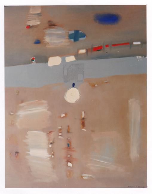 Pintura en beige con collage - 1987 - óleo - 100 x 81 cm.