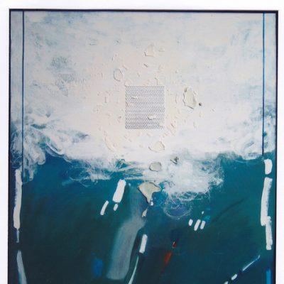 Señales en el caos - 1989 - óleo sobre lienzo y collage - 116 x 89 cm.