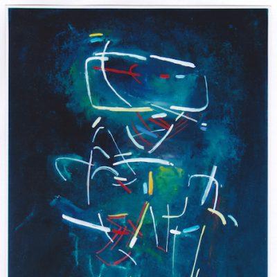 Figura en movimiento - 1990 - óleo sobre papel - 37 X 26,5 cm. (colección Alejandro Gimeno - Eslida)