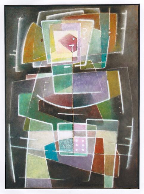 Juego de cartas - 1997 - óleo - 73 x 54 cm.