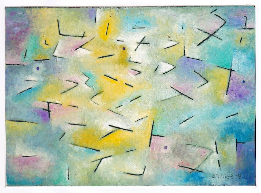 Conversación - 1999 - óleo sobre tabla - 26 x 38 (colección Enrique Arenós)