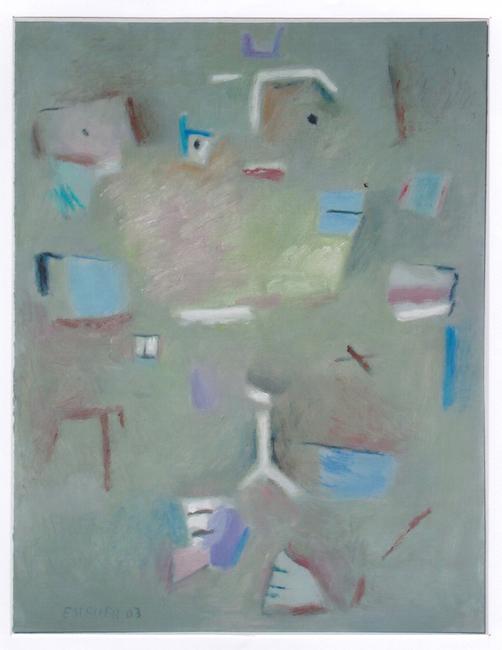 Composición con rostro - 2003 - óleo sobre papel - 32,5 x 25 cm. (colección José Manuel Mir - Castellón)