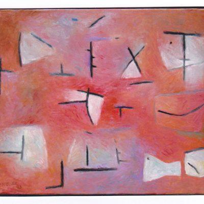 Rojo con signos - 2003 - óleo sobre lienzo - 50 x 61 cm.
