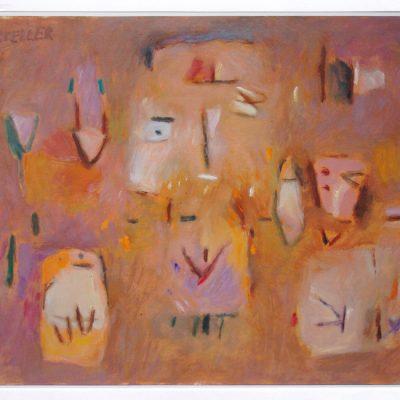 Señora con perros - 2004 - óleo sobre papel - 25 x 32,5 cm. (colección Esther Soler - Onda)