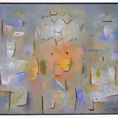 Pensador y pensamientos - 2005 - óleo - 60 x 73 cm.