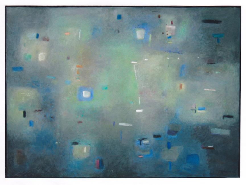 Oscuro con azules - 2006 - óleo - 73 x 100 cm.