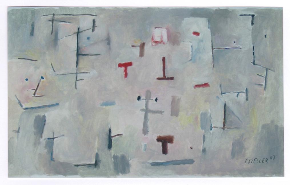 ... Gris con signos - 2007 - óleo sobre papel - 27 x 45 cm.